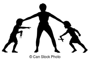 sibling-rivalry-silhouette-editable-vector-silhouette-illustration-of-a-mother-holding-a-young-eps-vector_csp54223785